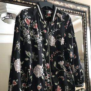 H&M flower print satin bomber jacket